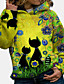 cheap Two Piece Set-Women's Pullover Hoodie Sweatshirt Cat Daily Other Prints Casual Hoodies Sweatshirts  Cotton Loose Blue Purple Yellow