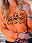 cheap HALLOWEEN-Women's Party Pullover Sweatshirt Pumpkin Basic Halloween Hoodies Sweatshirts  Black Yellow Orange