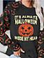cheap HALLOWEEN-Women's Party Pullover Sweatshirt Graphic Letter Pumpkin Basic Halloween Hoodies Sweatshirts  Dark Gray