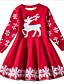 cheap Girls' Dresses-Kids Toddler Little Girls' Dress Deer Snowflake Christmas Animal Print Blue Red Knee-length Short Sleeve Active Sweet Dresses Christmas Slim