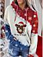 cheap Christmas Tops-Women's Plus Size Hoodie Pullover Galaxy Christmas Christmas Hoodies Sweatshirts  Wine Dark Gray Gray
