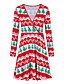cheap Christmas Dresses-Women's Short Mini Dress Swing Dress Yellow Red Long Sleeve Clothing Print Print V Neck Fall Christmas Casual 2021 Regular Fit S M L XL