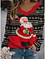 cheap Christmas Tops-Women's Christmas T shirt Cat Graphic 3D Long Sleeve Print Round Neck V Neck Tops Basic Casual Christmas Basic Top Black Green