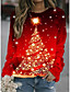 cheap Christmas Tops-Women's Hoodie Sweatshirt Print Daily Christmas Hoodies Sweatshirts  Loose Red
