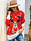 cheap Christmas Sweater-Women's Pullover Animal Knitted Long Sleeve Loose Sweater Cardigans Fall Winter Crew Neck Black Red