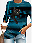 cheap Tees & T Shirts-Women's Halloween Tunic T shirt Long Sleeve Striped Cat 3D Cartoon Round Neck Print Basic Tops Blue Yellow Gray