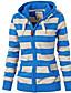 cheap Hoodies & Sweatshirts-Women's Zip Up Hoodie Sweatshirt Striped Zip Up Daily Basic Hoodies Sweatshirts  Black And White Blue White Navy Blue