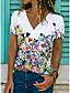 cheap Tees & T Shirts-Women's T shirt Floral Theme Floral Graphic Flower V Neck Print Basic Tops Blue Gray White / 3D Print