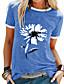 cheap Tees & T Shirts-Women's T shirt Graphic Round Neck Tops Cotton Black Blue Purple