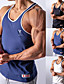 cheap Running & Jogging Clothing-Men's Sleeveless Running Tank Top Running Singlet Workout Tops Top Stripe-Trim Summer Quick Dry Breathable Soft Cotton Fitness Gym Workout Running Active Training Jogging Sportswear Stripes Blue