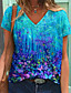 cheap Tees & T Shirts-Women's Floral Theme Painting T shirt Floral Graphic Print V Neck Basic Tops Blue