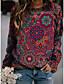 cheap Valentine's Gifts-Women's Floral Graphic Hoodie Sweatshirt Daily Basic Casual Hoodies Sweatshirts  Purple Yellow Green / Micro-elastic