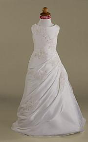 A-vonalú Hercegnő Földig érő Virágoslány ruha - Organza Ujjatlan Scoop nyak val vel Gyöngydíszítés Rátétek Átkötős által LAN TING BRIDE®