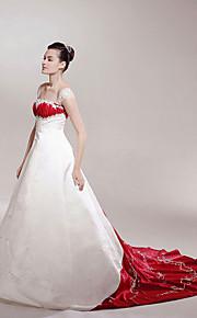 Trapèze Princesse Epaules Dénudées Traîne Chapelle Satin Robes de mariée personnalisées avec Appliques Drapée par LAN TING BRIDE®