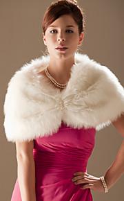 Sleeveless Faux Fur Wedding Fur Wraps Wedding  Wraps With Beading Shrugs