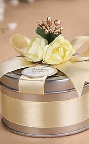 Cylindre Métal Titulaire de Faveur avec Ruban Boîtes à cadeaux Cannette de cadeau