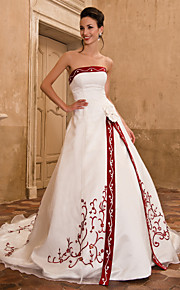 Trapèze Princesse Sans Bretelles Traîne Cathédrale Organza Satin Robes de mariée personnalisées avec Broderie Fleur Avant Fendu par LAN