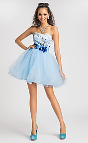 A-Line Ball Gown Princess Strapless Sweetheart Short / Mini Satin Cocktail Party / Homecoming / Prom / Sweet 16 Dress with Beading