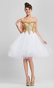 A-Line Sweetheart Neckline Knee Length Tulle / Sequined Cocktail Party / Homecoming Dress with Beading / Sequin / Ruffles by TS Couture®