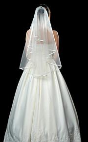 """שכבה אחת קצה סרט הינומות חתונה צעיפי אצבע עם 53.15 אינץ' (135 ס""""מ) טול קו A, שמלת נשף, נסיכה, חצוצרה / בת הים, נדן / טור"""