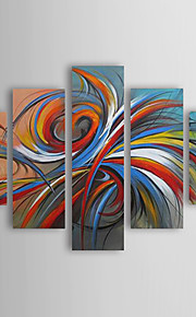 3139658026 ελαιογραφίες σύγχρονη αφηρημένη πολύχρωμα κύκλους ζωγραφισμένα στο χέρι  καμβά πέντε πάνελ έτοιμο να κρεμάσει