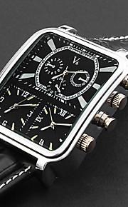 Henkilökohtainen lahja Watch, Kolmi-aikavyöhyke Analoginen Quartz Japanilainen kvartsi Watch With Metalliseos Kotelon materiaali Nahka