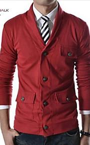 Муж. Повседневные / Спорт / Офис Классический и неустаревающий Чистый цвет Однотонный Длинный рукав Обычный Кардиган Коричневый / Красный / Темно-серый