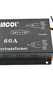Xincol® Vehicle Car DC 24V to 12V 60A Power Supply Transformer Converter with Dual Fan Regulation-Black