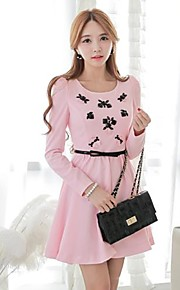 Women's Formal Cute Dress,Solid Above Knee Sleeveless Pink Polyester / Spandex Spring / Fall / Winter