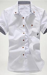 رجالي قطن قميص قياس كبير نحيل ياقة مع زر سفلي طباعة لون سادة, شاطئ أبيض XL / كم قصير / الصيف
