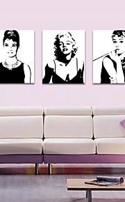 Personnage Romance Loisir Moderne Pop Art Trois Panneaux Format Vertical Imprimé Décoration murale Décoration d'intérieur
