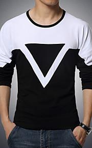 Ανδρικά Μεγάλα Μεγέθη T-shirt Αθλητικά Ενεργό - Βαμβάκι Μονόχρωμο / Συνδυασμός Χρωμάτων Στρογγυλή Λαιμόκοψη Λευκό XXL / Μακρυμάνικο
