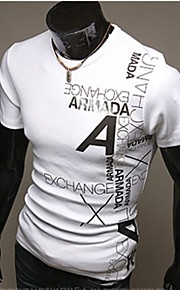 男性用 スポーツ / ワーク - プリント プラスサイズ Tシャツ 活発的 ラウンドネック レタード コットン / 半袖