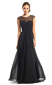 A-Line Illusion Neckline Floor Length Chiffon Formal Evening Dress with Lace by TS Couture®