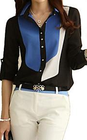 Dámské - Barevné bloky Na běžné nošení Větší velikosti Košile Bavlna Košilový límec Černá XL / Jaro / Léto / Podzim / Zima
