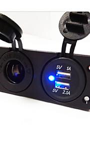 warm! 2 holes panel stopcontact en dual usb auto-oplader socket
