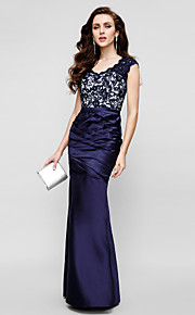 Mermaid / Trumpet Strapless Floor Length Lace Over Satin Formal Evening Dress with Lace Side Draping by TS Couture®