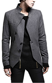 Men's Daily Fall Regular Blazer, Solid Colored Stand Long Sleeve Cotton / Polyester Black / Gray L / XL / XXL / Slim