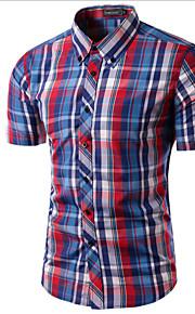 رجالي قميص نحيل ياقة مع زر سفلي طباعة منقوش خمر XL / كم قصير / الصيف