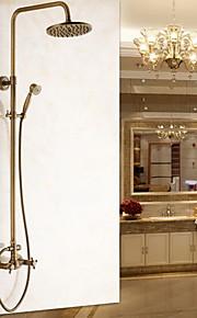 샤워 수전 - 앤티크 앤티크 벽내장 도자기 발브 Bath Shower Mixer Taps / 황동 / 두 핸들 두 구멍
