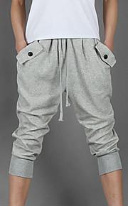 Hombre Activo Algodón Activo / Holgado / Pantalones de Deporte Pantalones - Un Color Negro / Deportes / Verano
