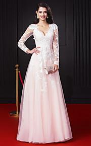 Linea-A A V Lungo Chiffon Lace Over Tulle Graduazione / Serata formale Vestito con Con applique Di pizzo di TS Couture®