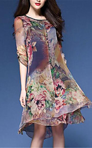 Dámské Větší velikosti Čínské vzory Volné Šifón Šaty - Květinový, Tisk Délka ke kolenům