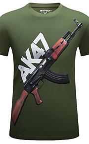 Hombre Deportes Estampado - Algodón Camiseta Gráfico Gris XXXXL / Manga Corta