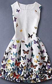 아동 여아 베이직 / 단 일상 버터플라이 플로럴 프린트 민소매 면 드레스 화이트