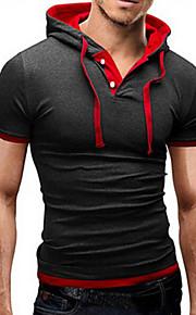 Erkek Kapşonlu Tişört Zıt Renkli Temel Spor Açık Gri XXXL / Kısa Kollu / Yaz / Dar