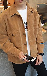 男性用 日常 ストリートファッション 春 / 秋 / 冬 レギュラー ジャケット, ソリッド シャツカラー 長袖 ポリエステル / ナイロン グレー / Brown / カーキ色 XXL / XXXL / 4XL / ルーズ