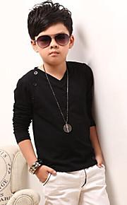 Çocuklar Genç Erkek Günlük Solid Uzun Kollu Normal Pamuklu Tişört Beyaz