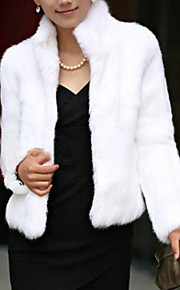 Women's Faux Fur Fur Coat - Solid Color, Formal Style Stand