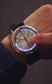 남성용 손목 시계 디지털 시계 디지털 가죽 블랙 디지털 참 - 블랙 실버 1 년 배터리 수명 / SSUO 377